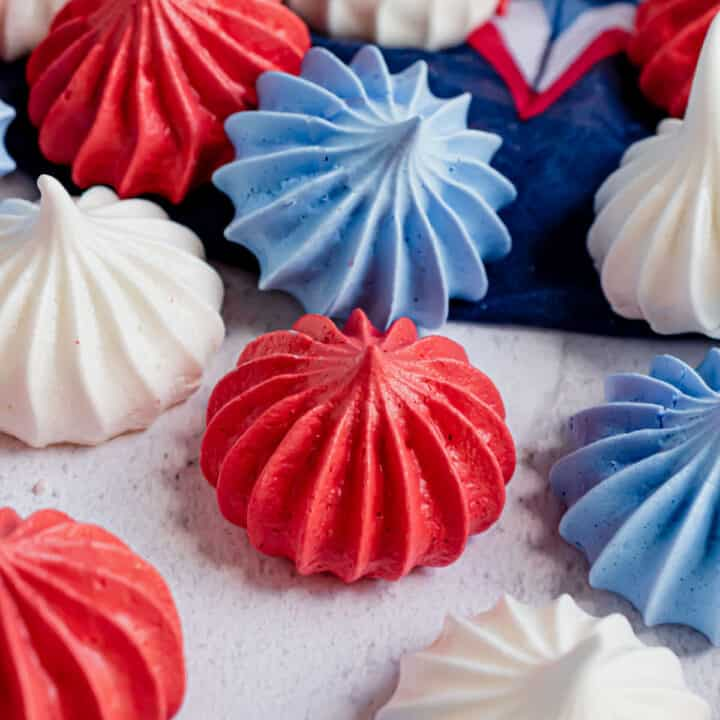 Red white and blue meringue cookies.