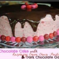 Dark Chocolate Cake with Raspberry Buttercream and Dark Chocolate Ganache