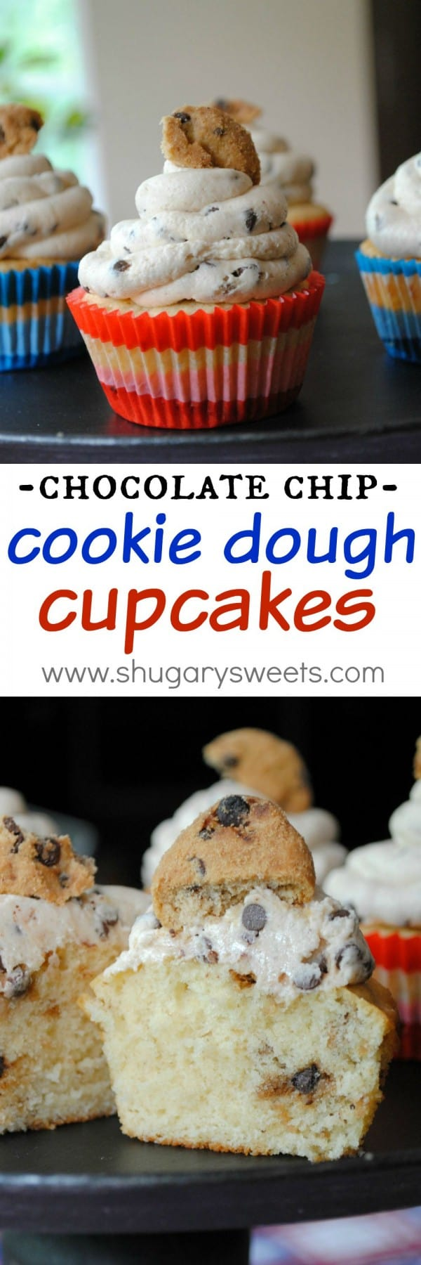 Chocolate Chip Cookie Cupcakes with a sweet cookie dough frosting!! So fun and delicious!