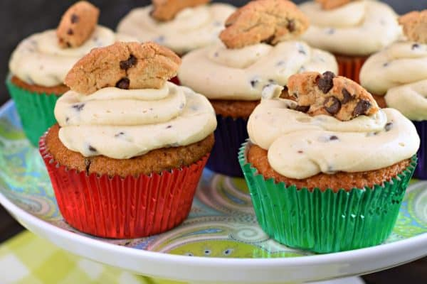 Chocolate Chip Cookie Dough Cupcakes on a blue cake plate