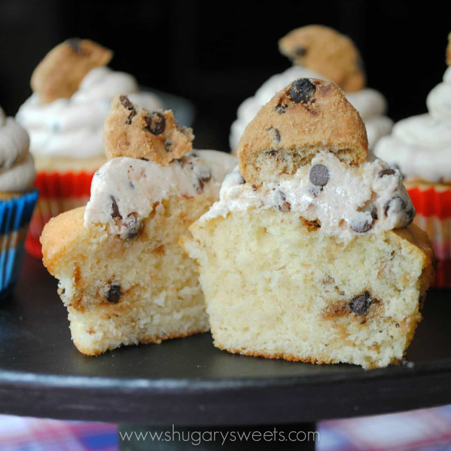 Chocolate Chip Cookie Dough Cupcakes - Shugary Sweets
