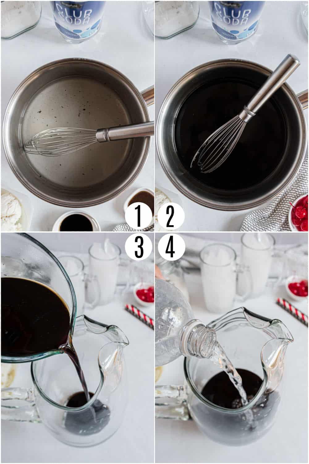 Step by step photo instructions showing how to make homemade root beer.