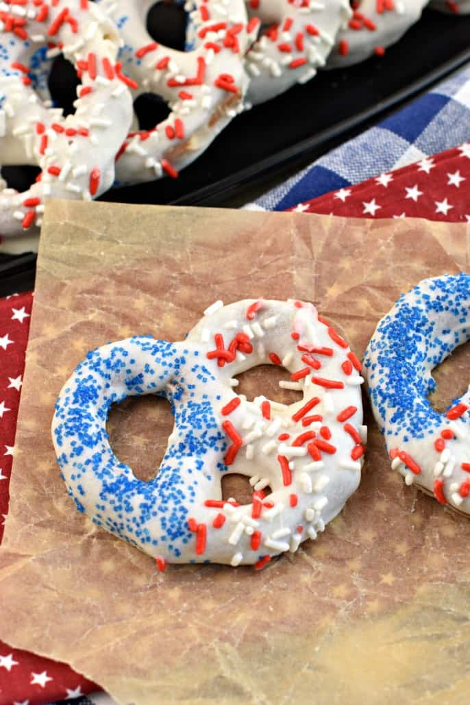 Patriotic pretzels decorated with red white and blue sprinkles