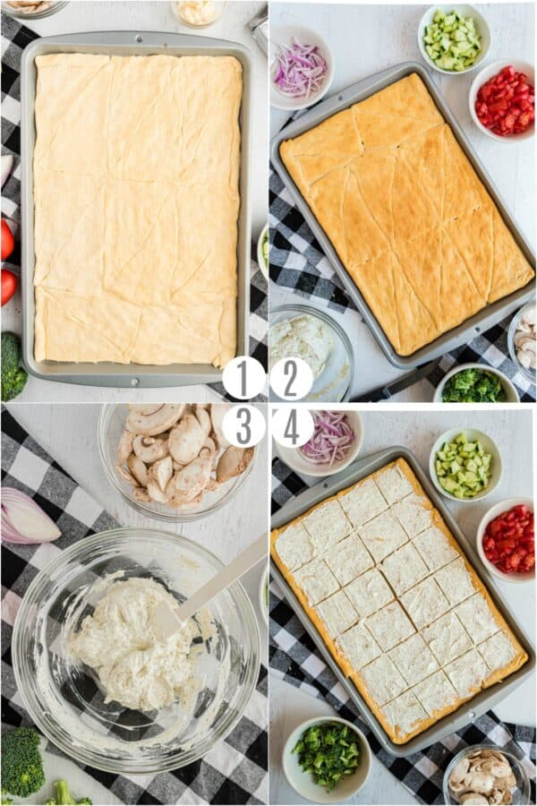 Step by step photos on how to make a veggie pizza with a crescent roll crust.