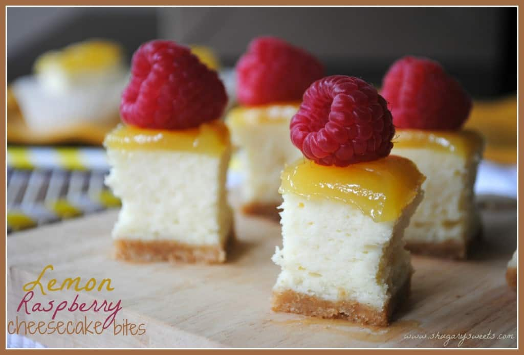 Lemon Raspberry Cheesecake Bites: little bites of cheesecake topped with lemon curd and fresh raspberries
