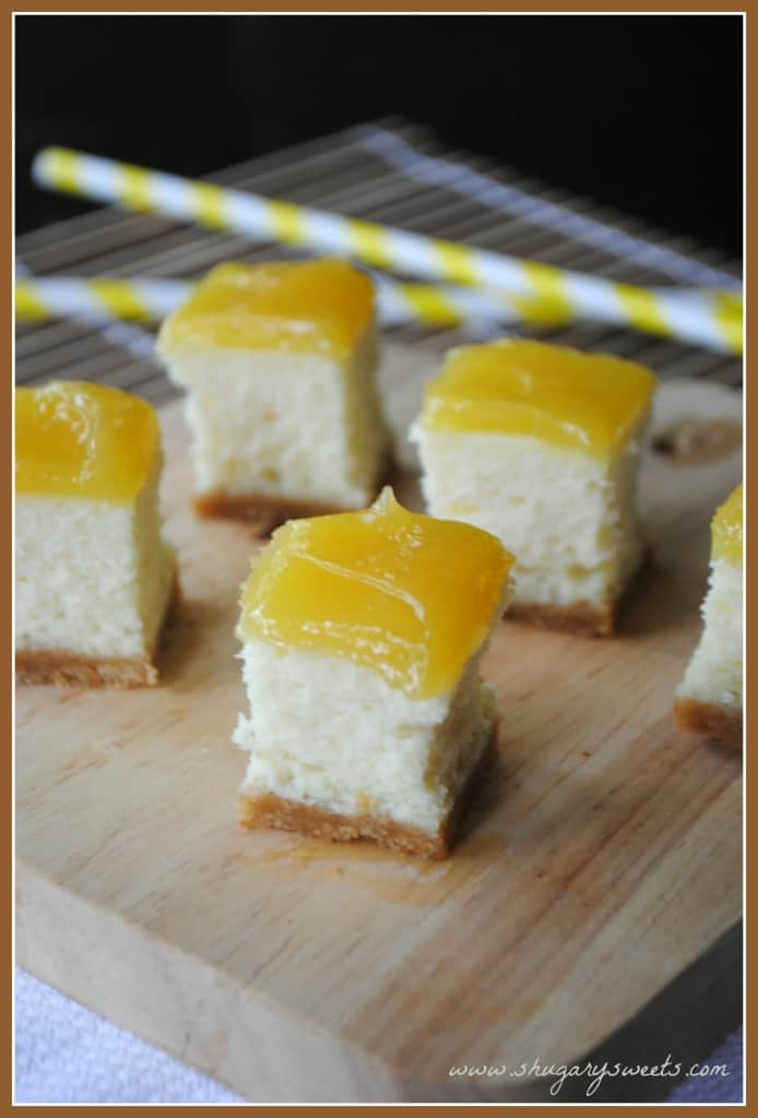Lemon Cheesecake Bites with lemon curd on top!