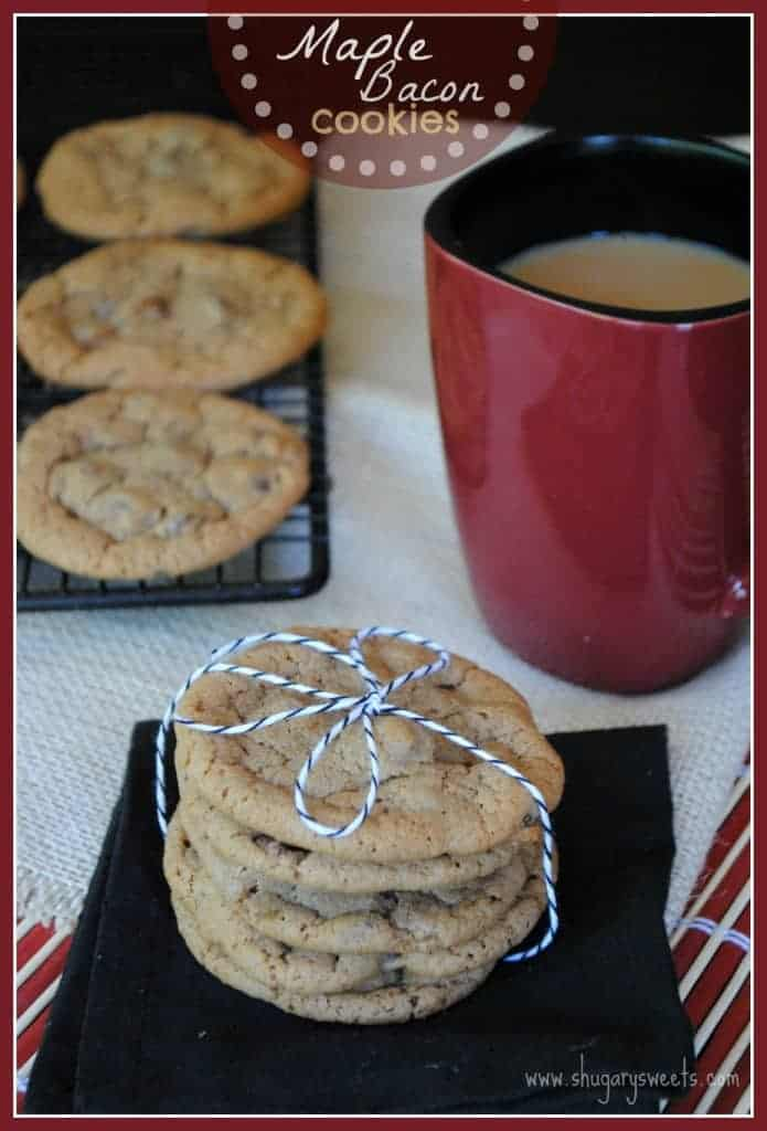 Maple Bacon Cookies: chewy delicious maple cookies with bacon pieces. Don't hate till you try it!