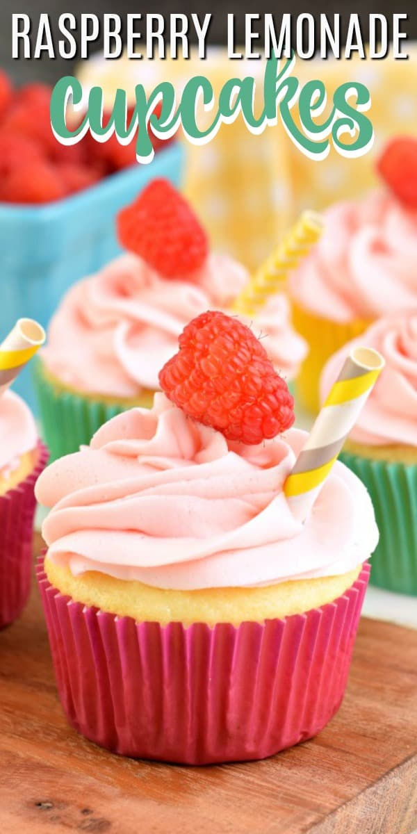 You'll love the simplicity of these raspberry lemonade cupcakes. A box cake mix and fresh homemade raspberry buttercream frosting make this recipe easy to make and delicious to eat. A fresh raspberry tops the cupcake for extra fresh goodness!
