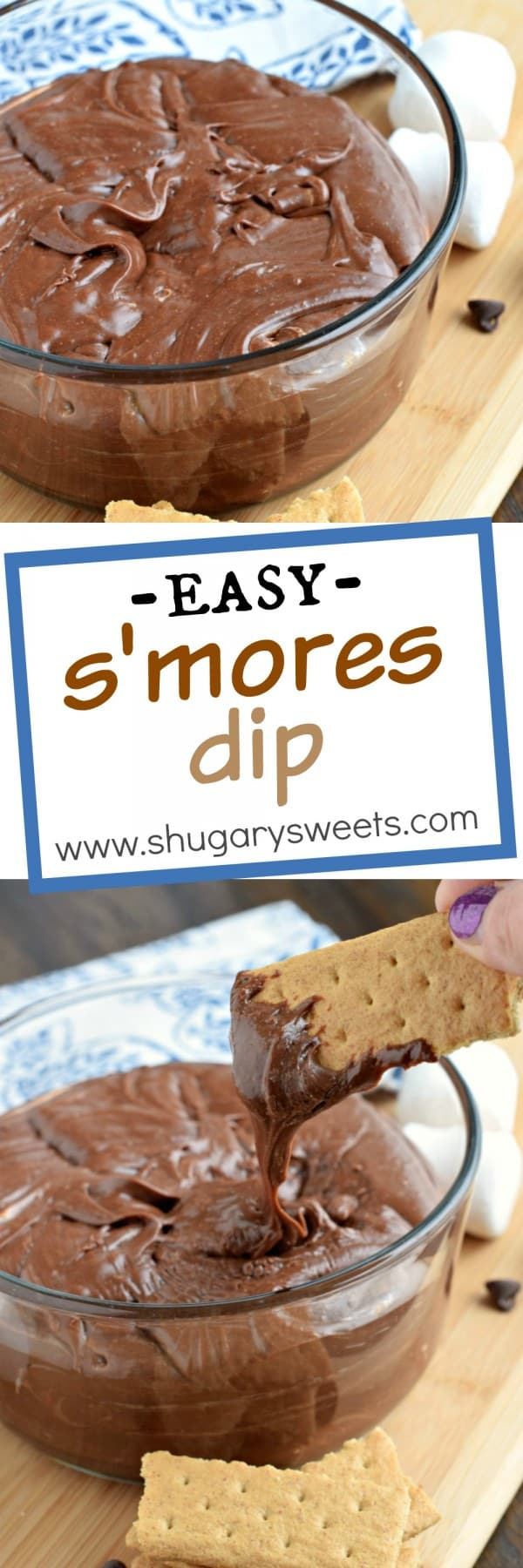 Easy, 3 ingredient recipe for delicious, decadent S'mores Dip! Heat and serve for a tasty, fudgy treat!