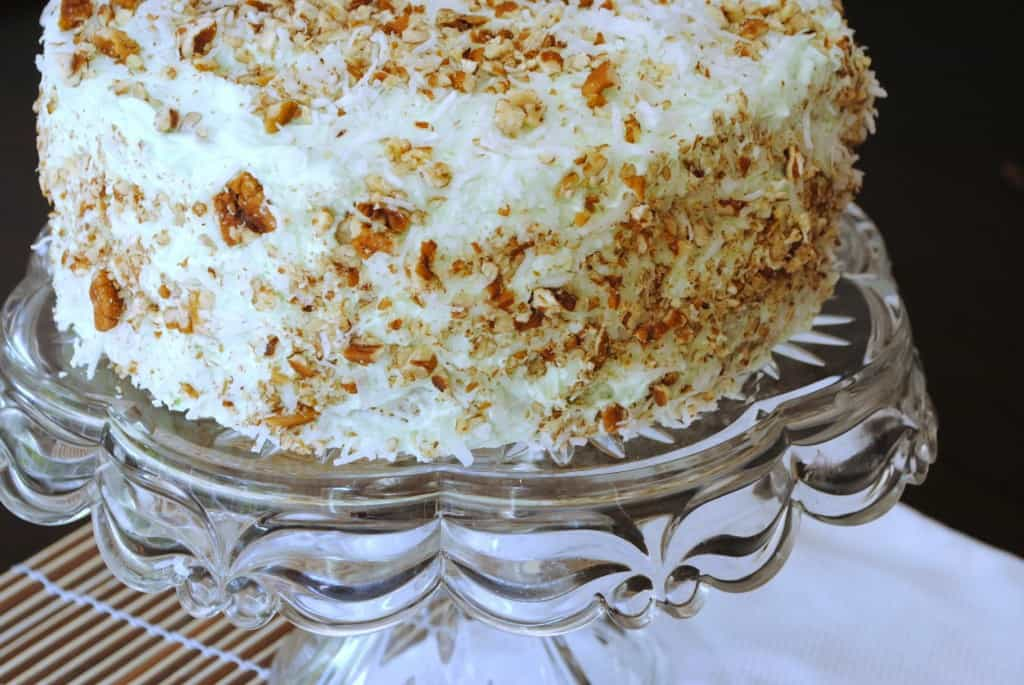 Watergate Cake: pistachio, coconut, and pudding in a delicious layer cake!