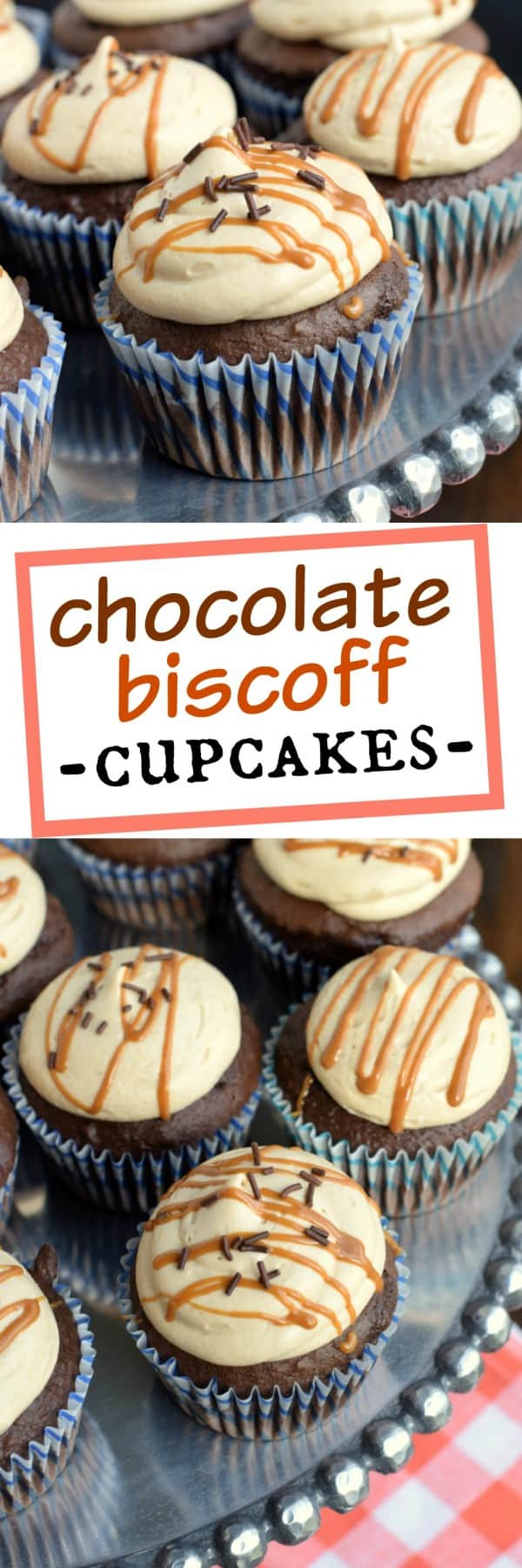 Chocolate Biscoff Cupcakes: the ultimate chocolate cupcake recipe topped with creamy, decadent Biscoff frosting! #nutfree