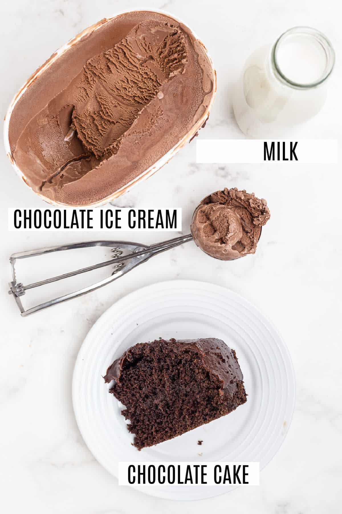 Only three ingredients needed for chocolate cake shakes.
