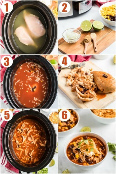 Step by step photos showing how to make chicken enchilada soup in the slow cooker.
