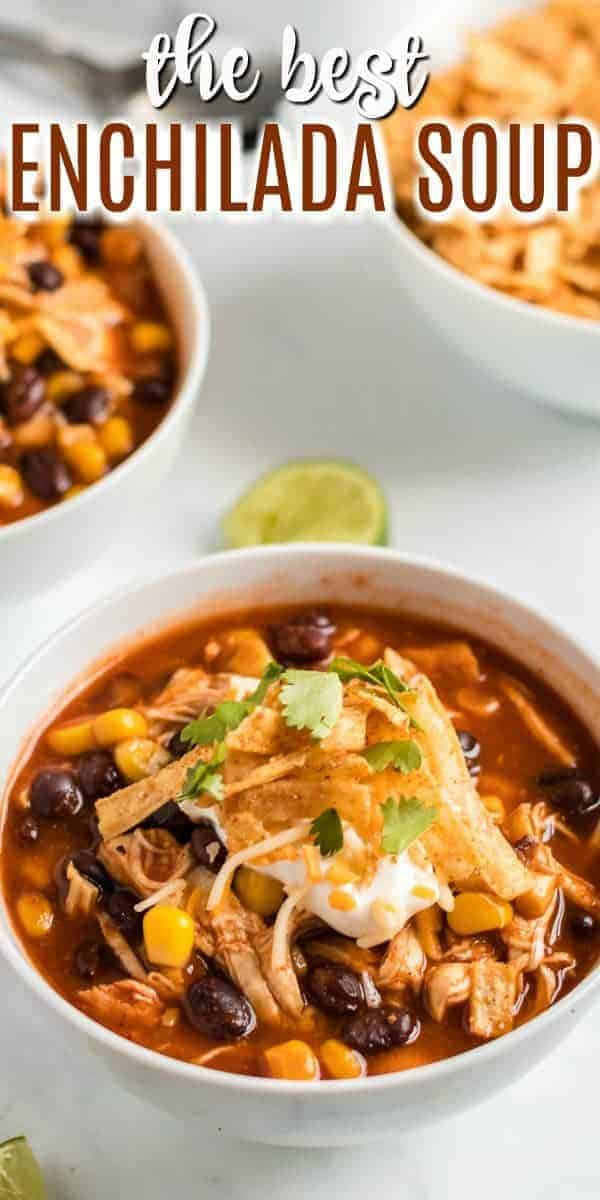 Fix it and forget it, this Slow Cooker Chicken Enchilada Soup Recipe is an easy weeknight dinner idea! Recipe includes instant pot and stove top directions too!