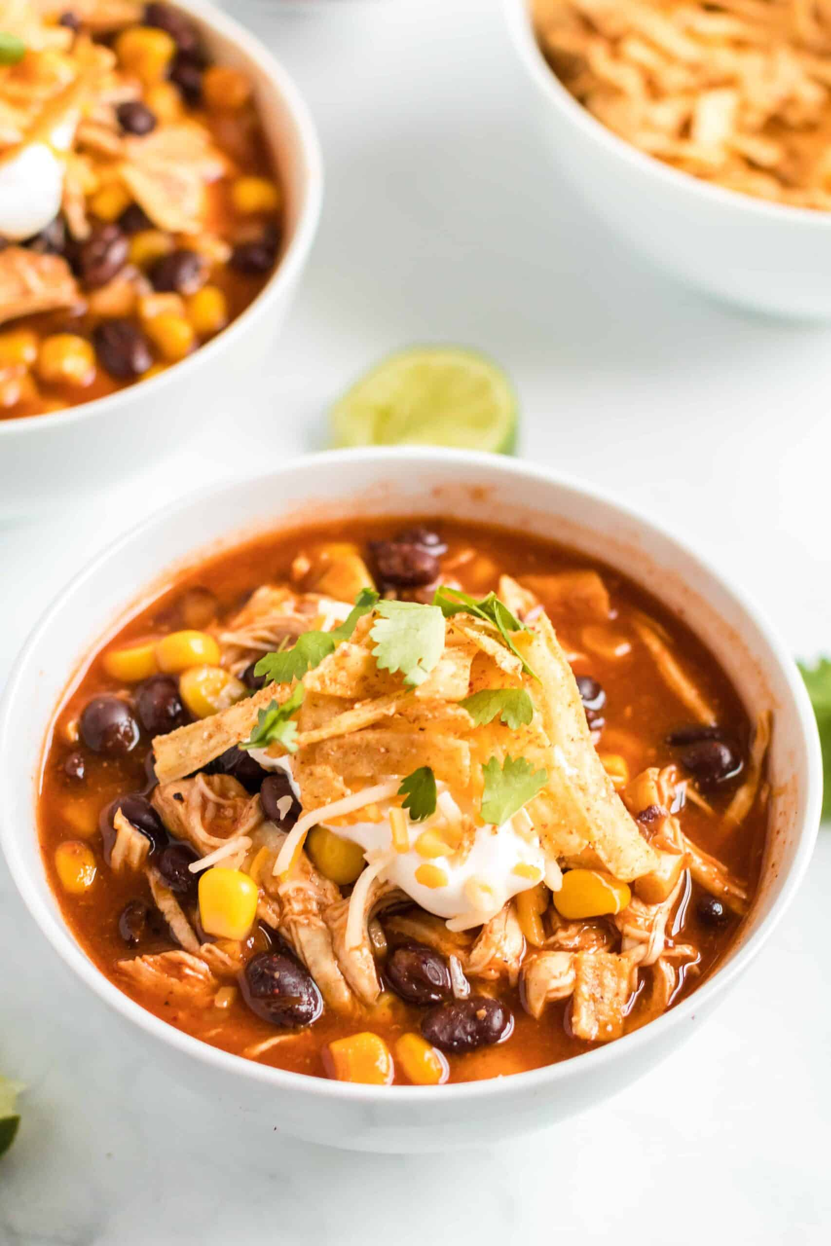 Chicken Enchilada Soup in a bowl, garnished with cheese, yogurt, tortilla strips and cilantro. Made in the slow cooker.