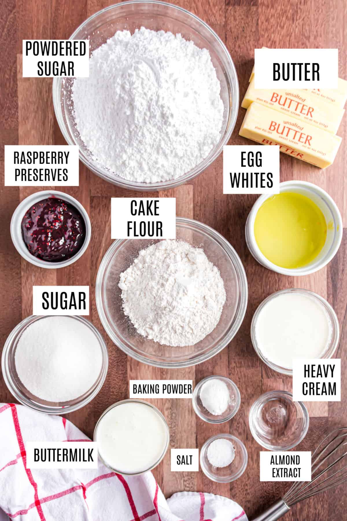 Ingredients needed for raspberry filled wedding cake cupcakes.