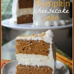 Pumpkin Cheesecake Cake: two layers of delicious pumpkin cake with a creamy cheesecake center. Frosted with cream cheese frosting!