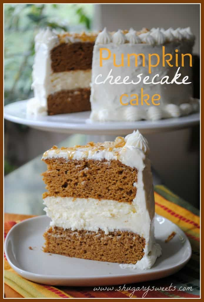 Pumpkin Cheesecake Cake Two Layers Of Delicious With A Creamy Center
