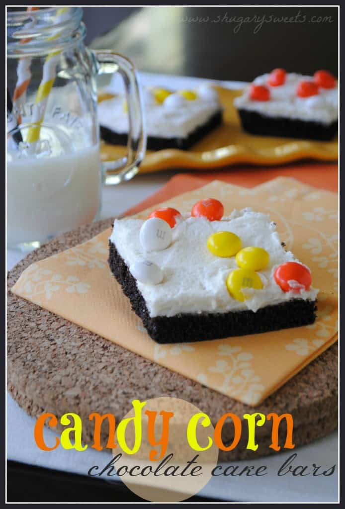Candy Corn Cake Bars: chocolate cake topped with vanilla buttercream and Candy Corn m&ms