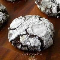 Dark Chocolate Mint Crinkle Cookies