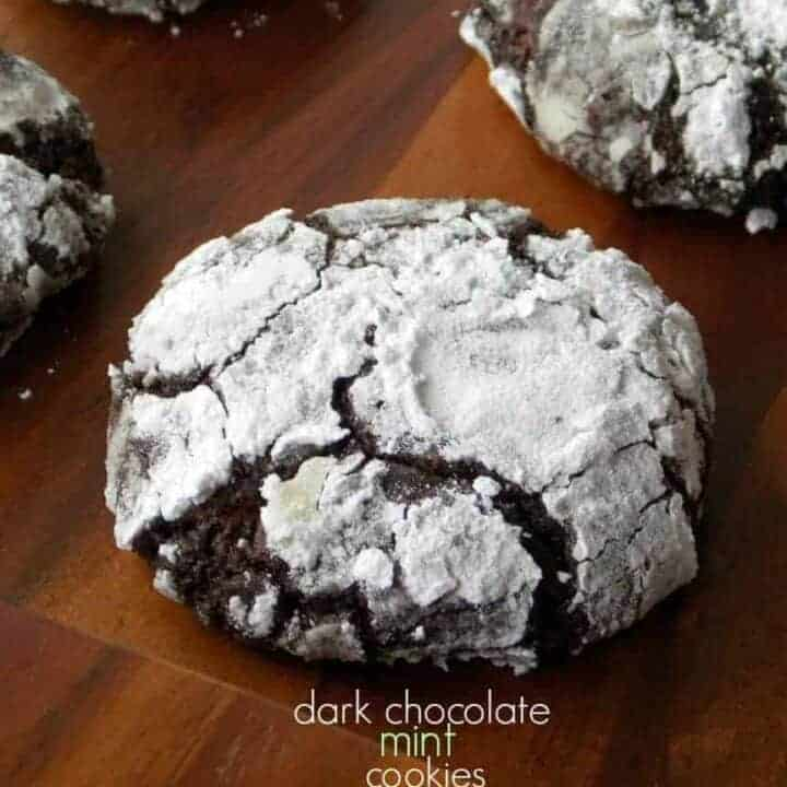Dark Chocolate Mint Crinkle Cookies