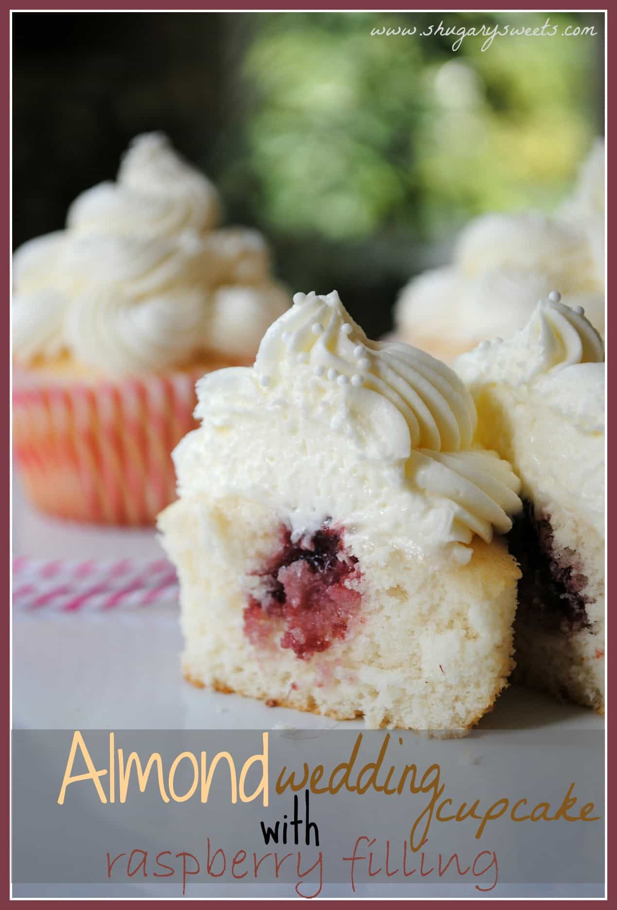 almond wedding cake cupcakes with raspberry filling shugary sweets. Black Bedroom Furniture Sets. Home Design Ideas
