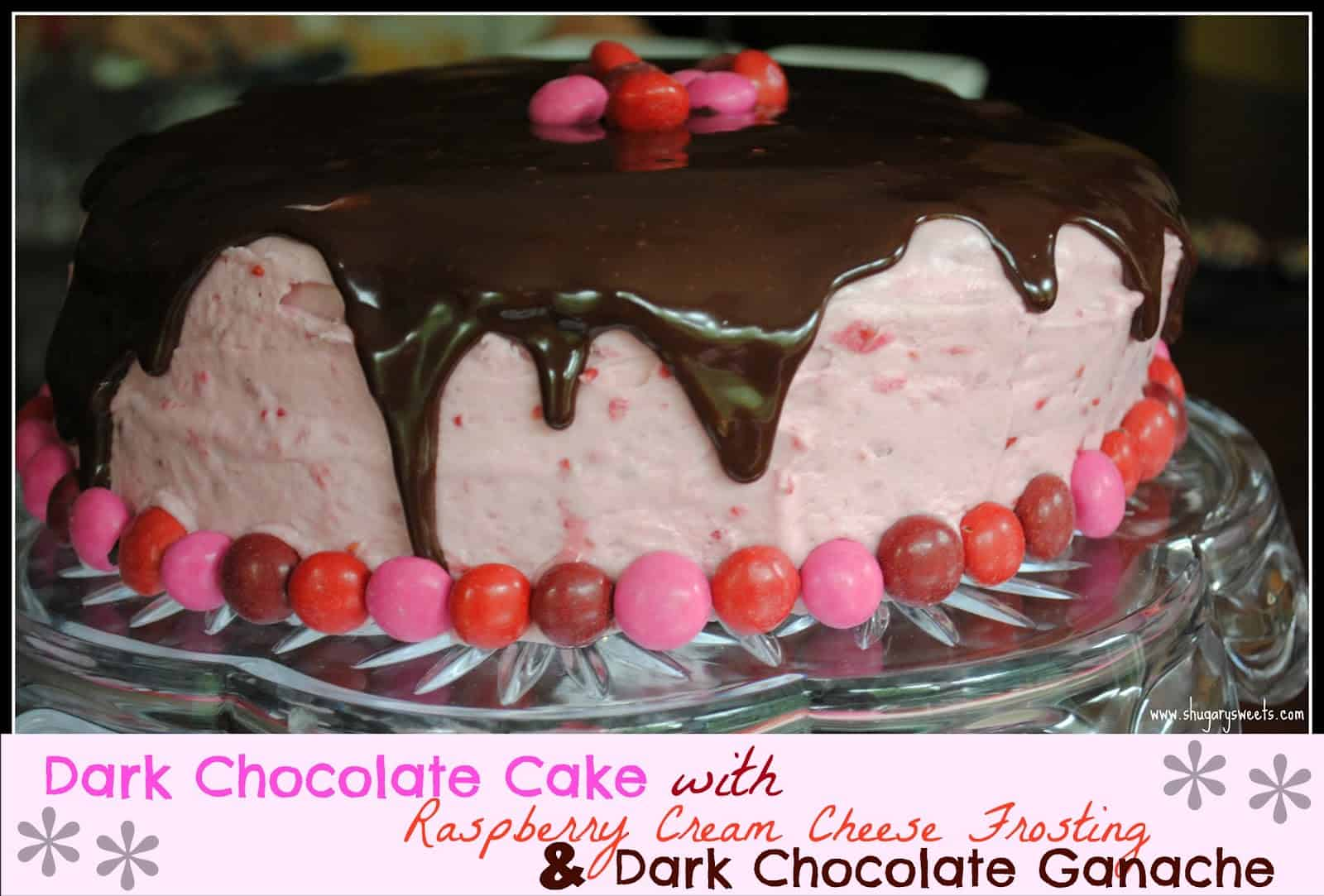 Cake with Raspberry Cream Cheese Frosting and Dark Chocolate Ganache ...