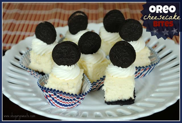 Oreo Cheesecake Bites topped with a sweet marshmallow frosting!