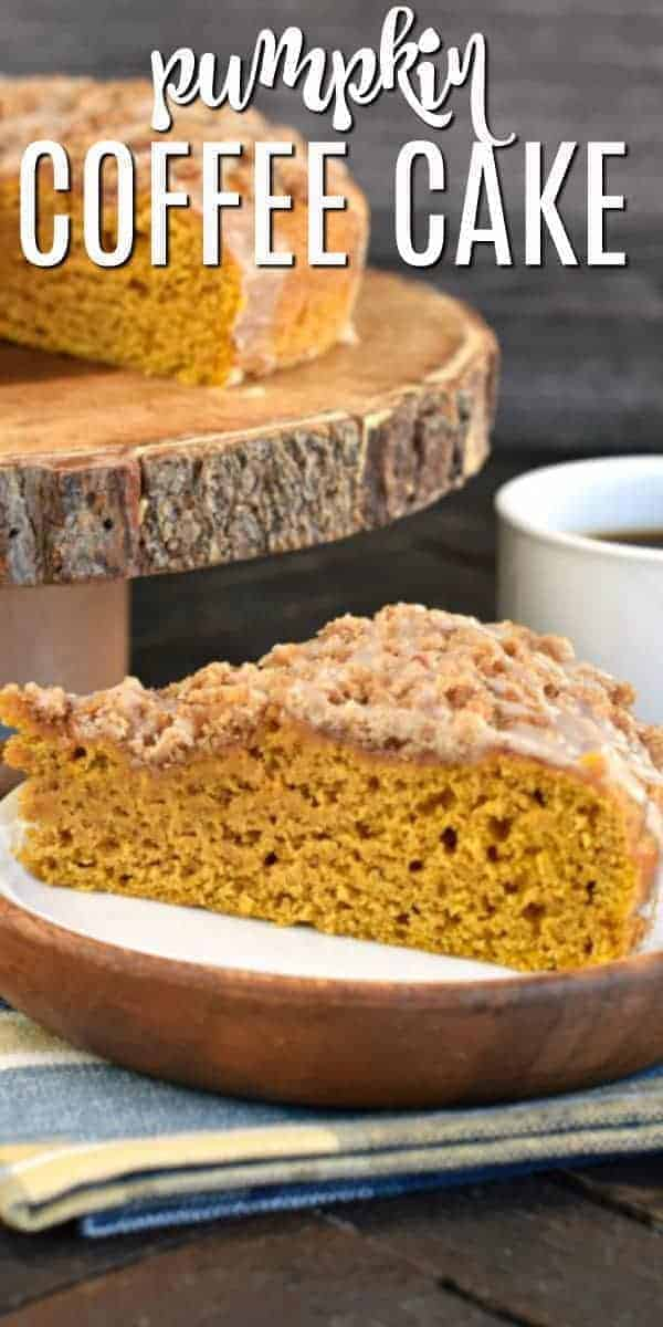 Moist, delicious Pumpkin Coffee Cake with a sweet Cinnamon Steusel and vanilla glaze. Easy recipe with freezer friendly options too!