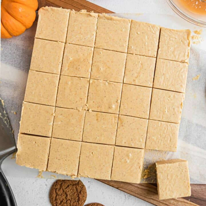Pumpkin fudge cut into square pieces.