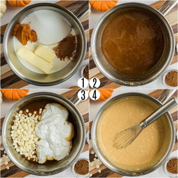 Step by step photos showing how to make pumpkin fudge.