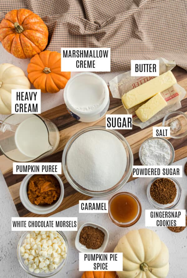 Ingredients for pumpkin spice fudge.