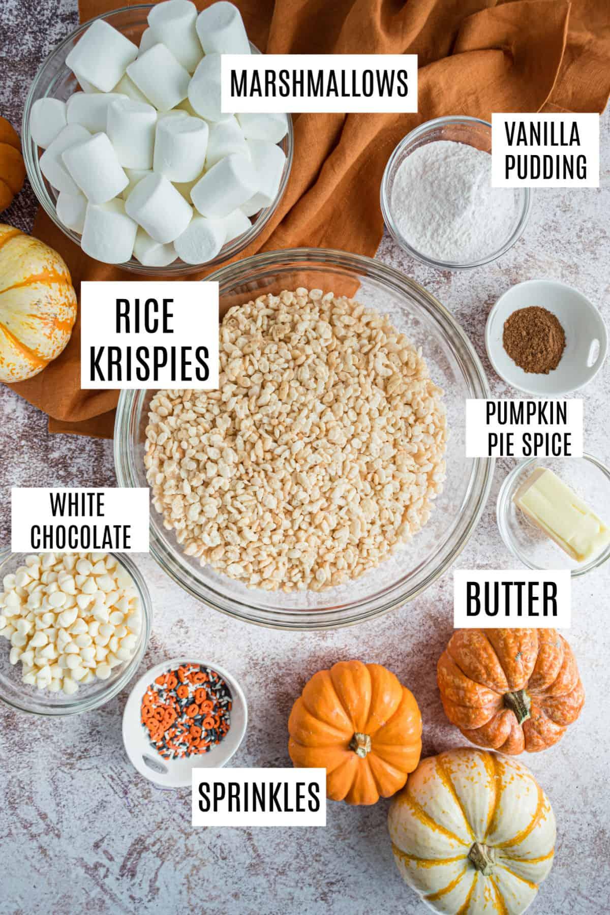 Ingredients for pumpkin spice rice krispie treats.