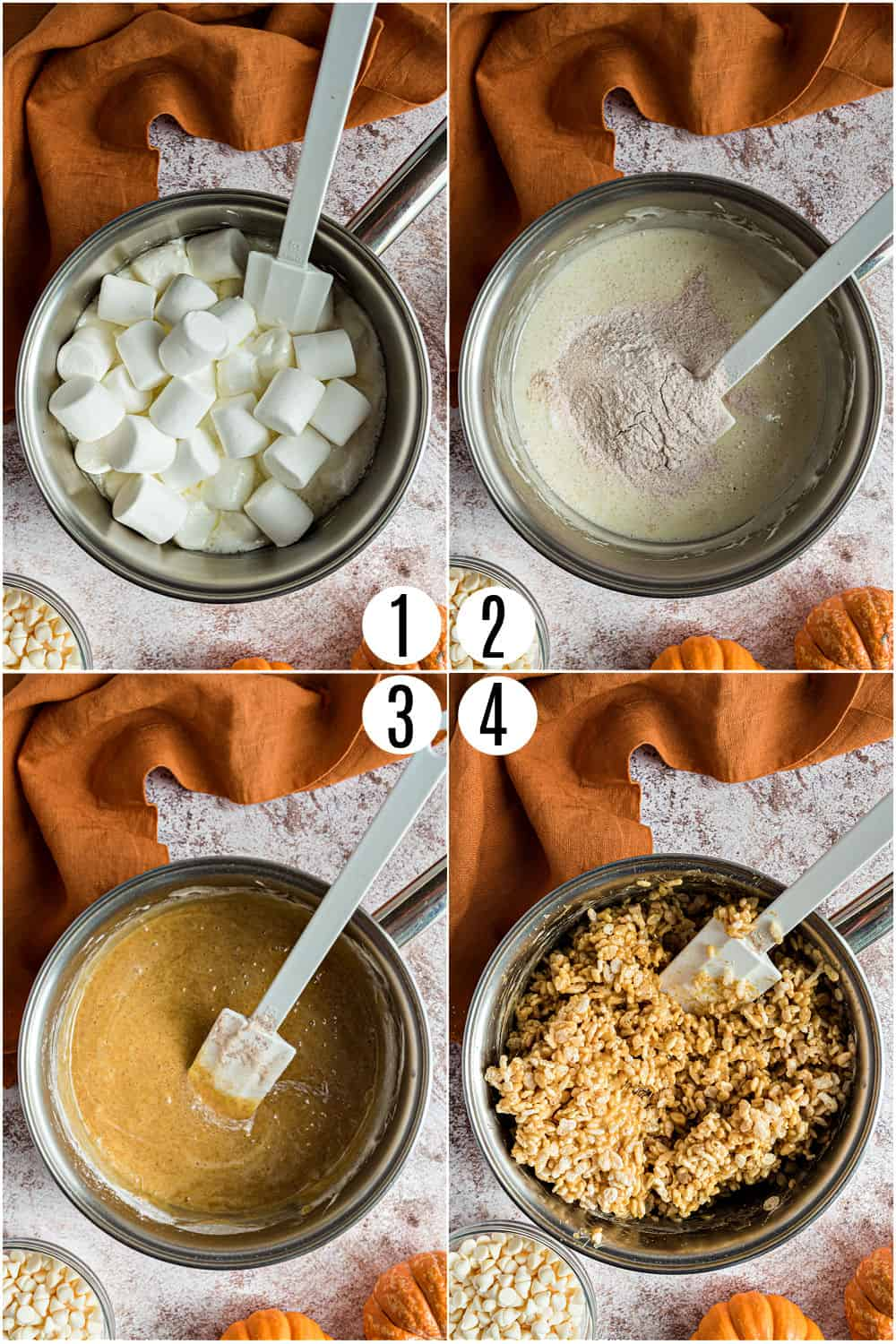 Step by step photos showing how to make rice krispie treats with pumpkin pie spice.