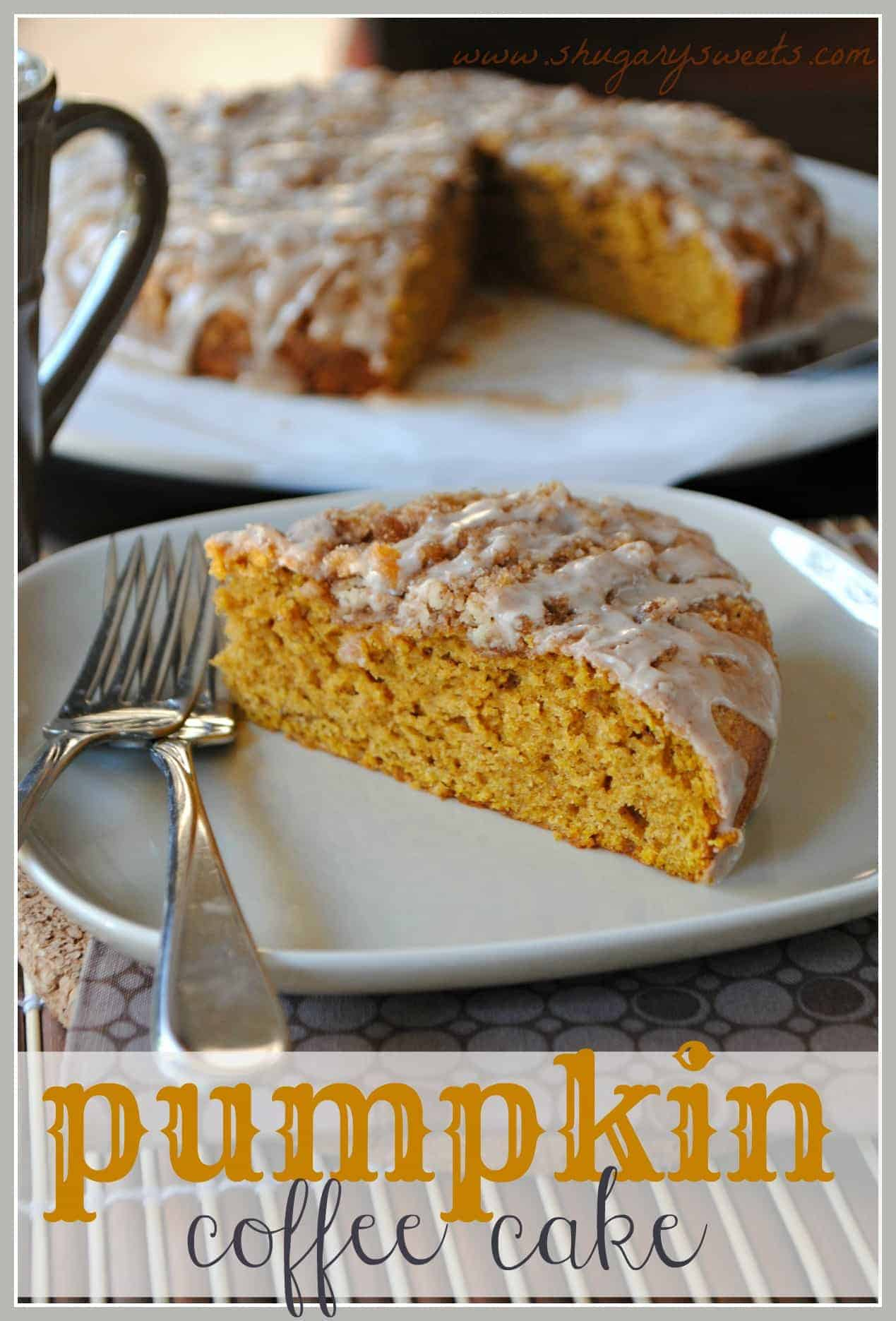 Pumpkin Coffee Cake with Cinnamon Struesel - Shugary Sweets