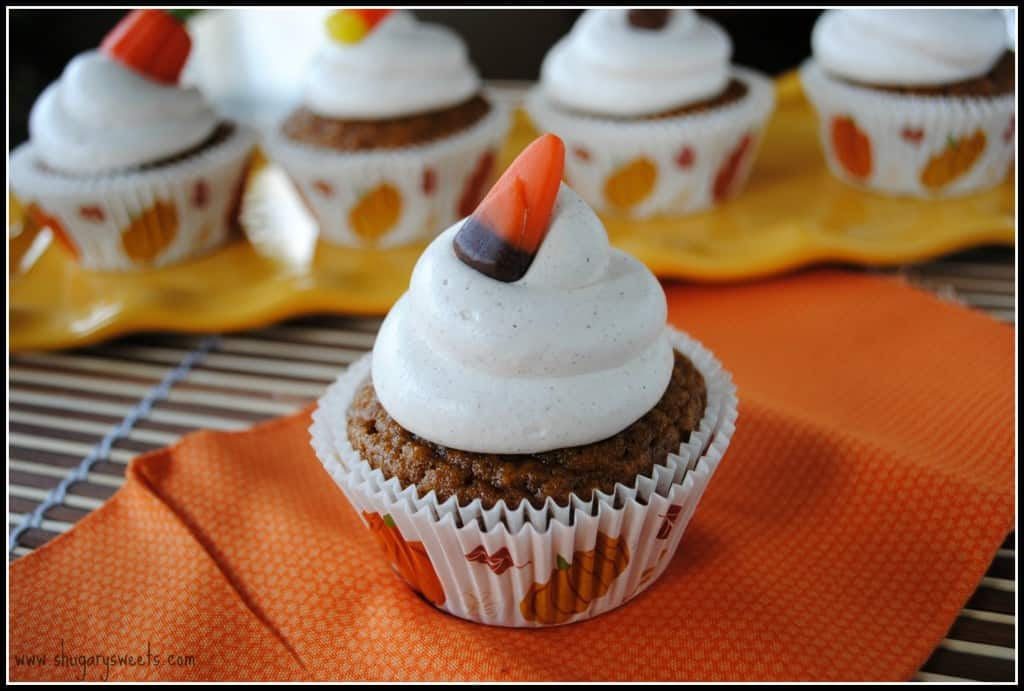 Pumpkin Pie cupcakes topped with Cinnamon Cool Whip Frosting