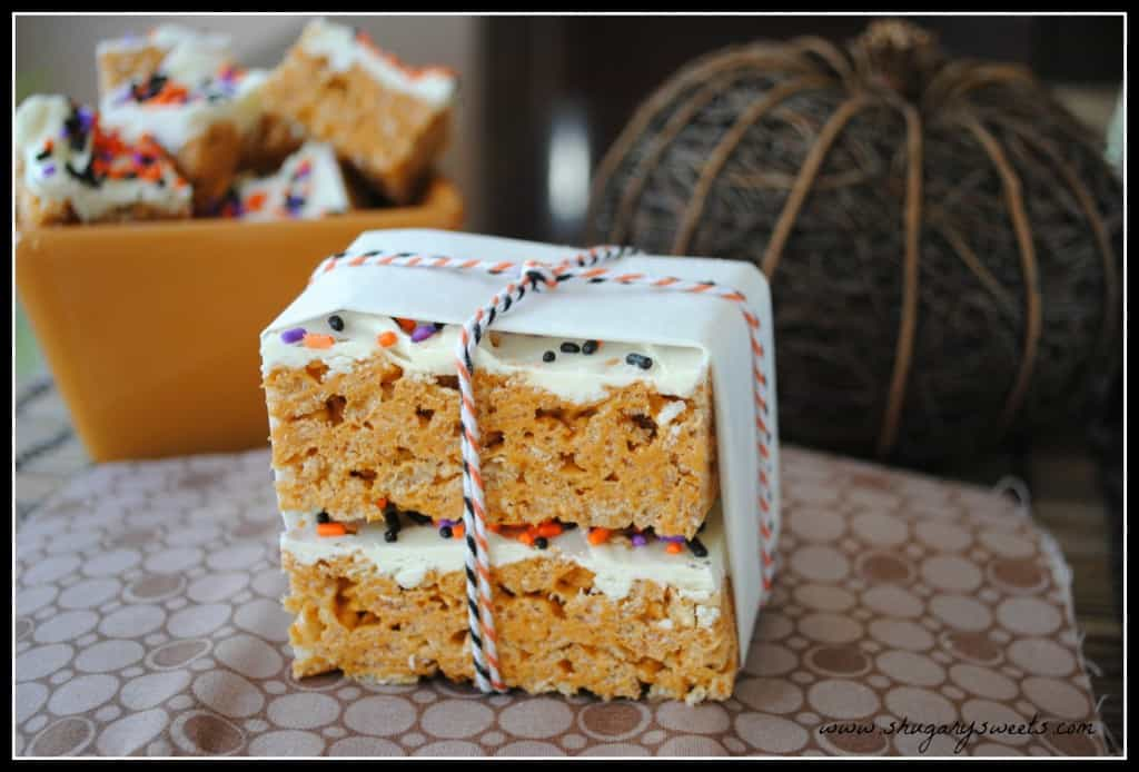 Chewy, delicious Pumpkin Spice Krispie Treats. Easy to make and perfect for any fall party!