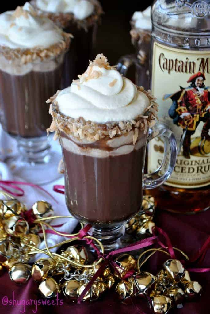 Hot Chocolada- homemade hot chocolate paired with pina colada #captainmorgan #spiceuptheholidays