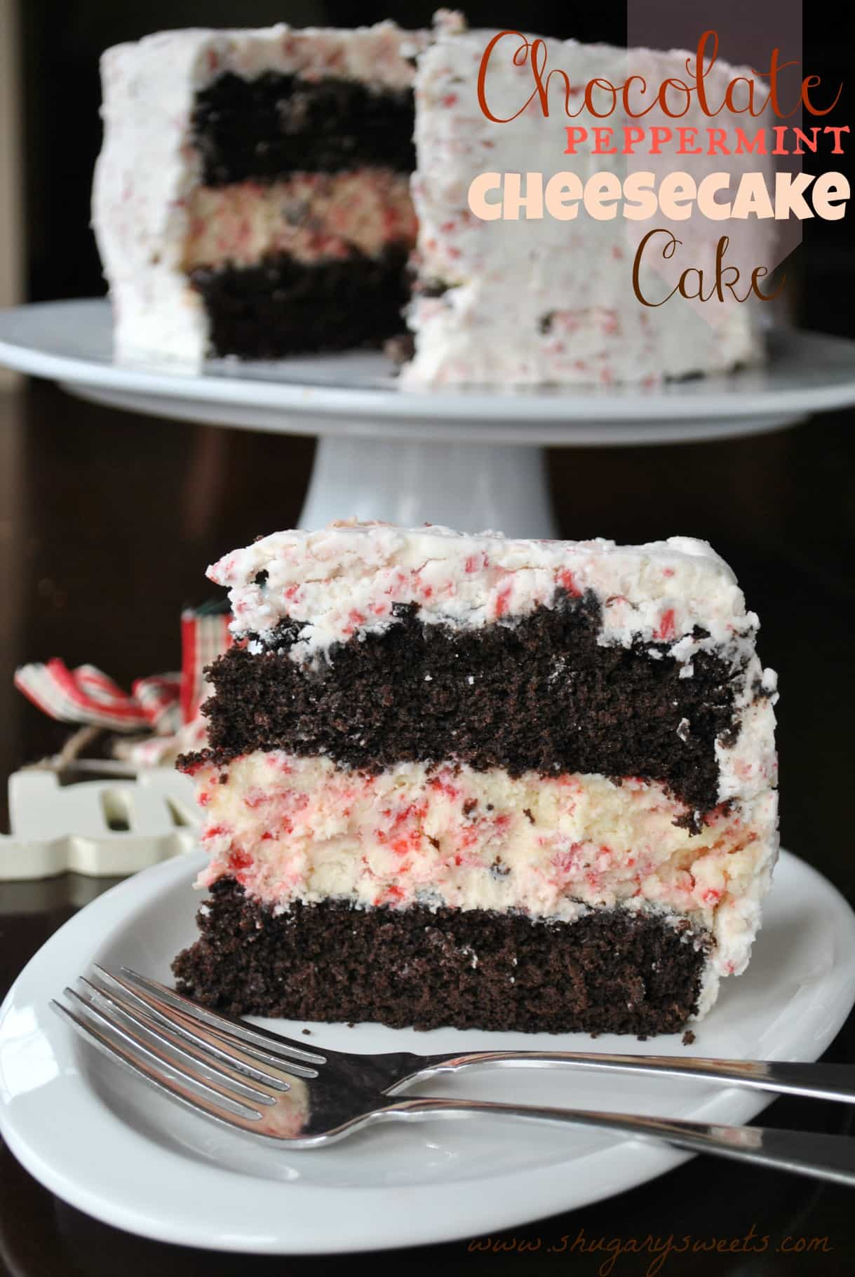 Double chocolate layer cake with peppermint cheesecake center and peppermint frosting!!