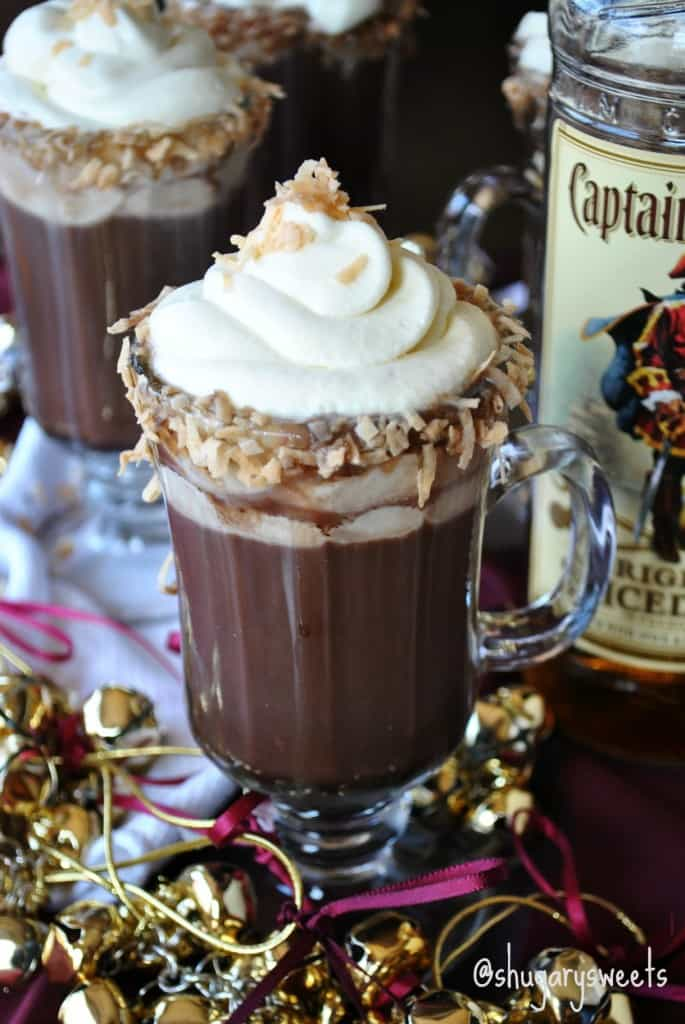 Hot Choc-colada: a spiked holiday drink #pinacolada #hotchocolate