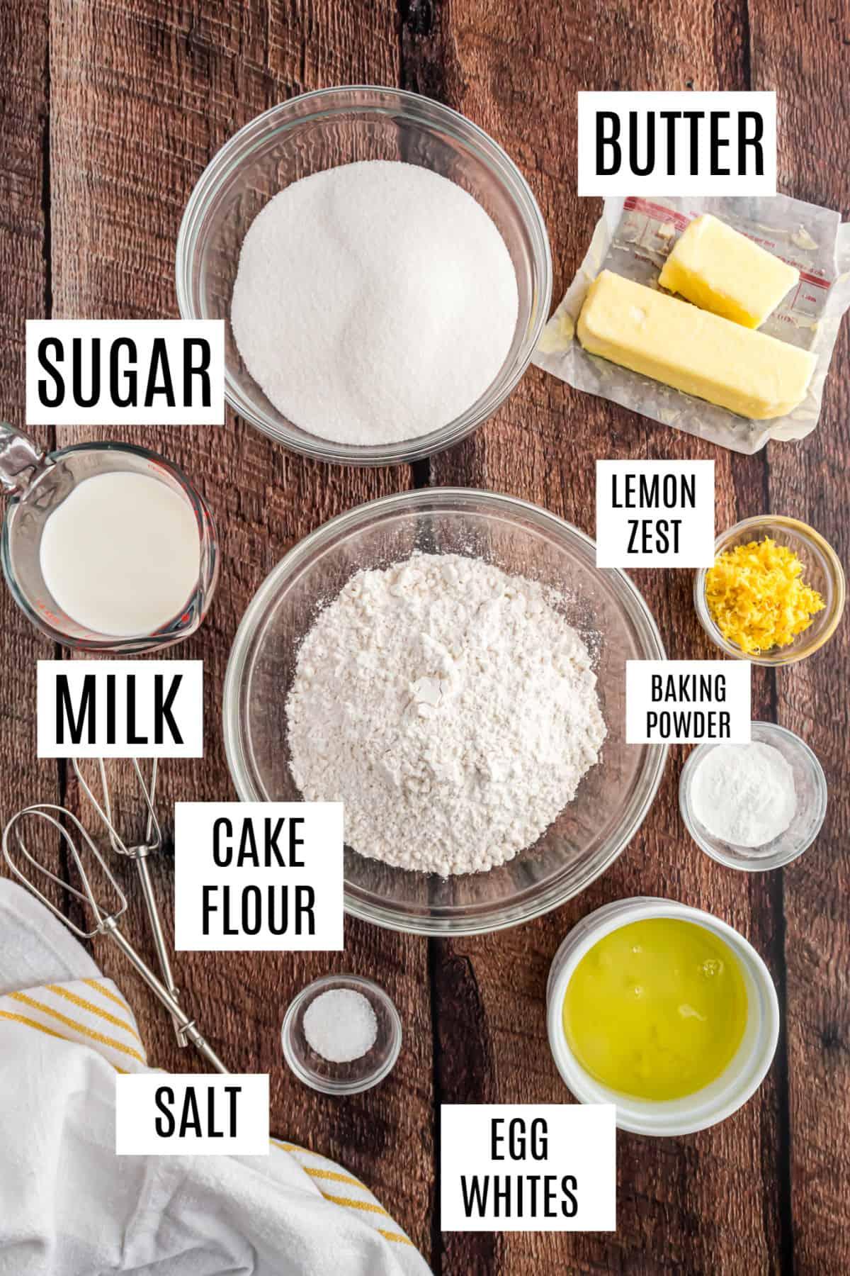 Ingredients needed to make lemon cupcakes.