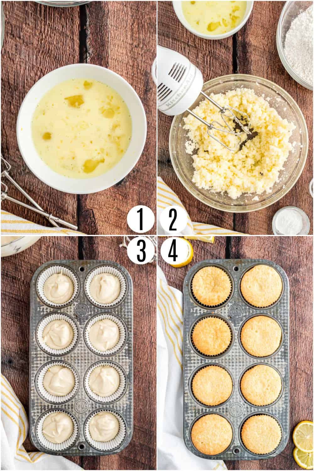 Step by step photos showing how to make lemon cupcakes.