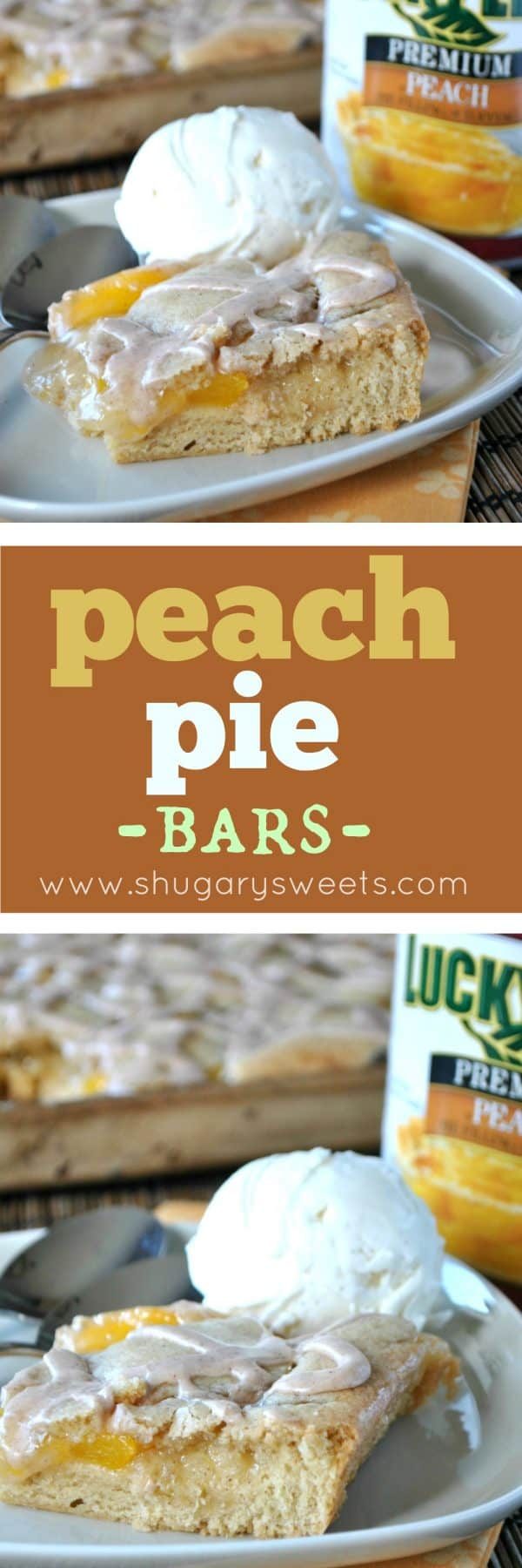 If you love peaches, this deliciously easy Peach Pie Bars recipe is just for you! No pie crust making skills needed! #luckyleaf #sponsored #peachpie #dessert