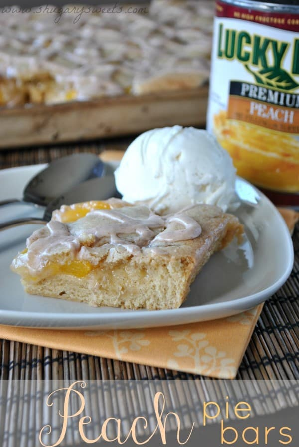 If you love peaches, this deliciously easy Peach Pie Bars recipe is just for you! No pie crust making skills needed!