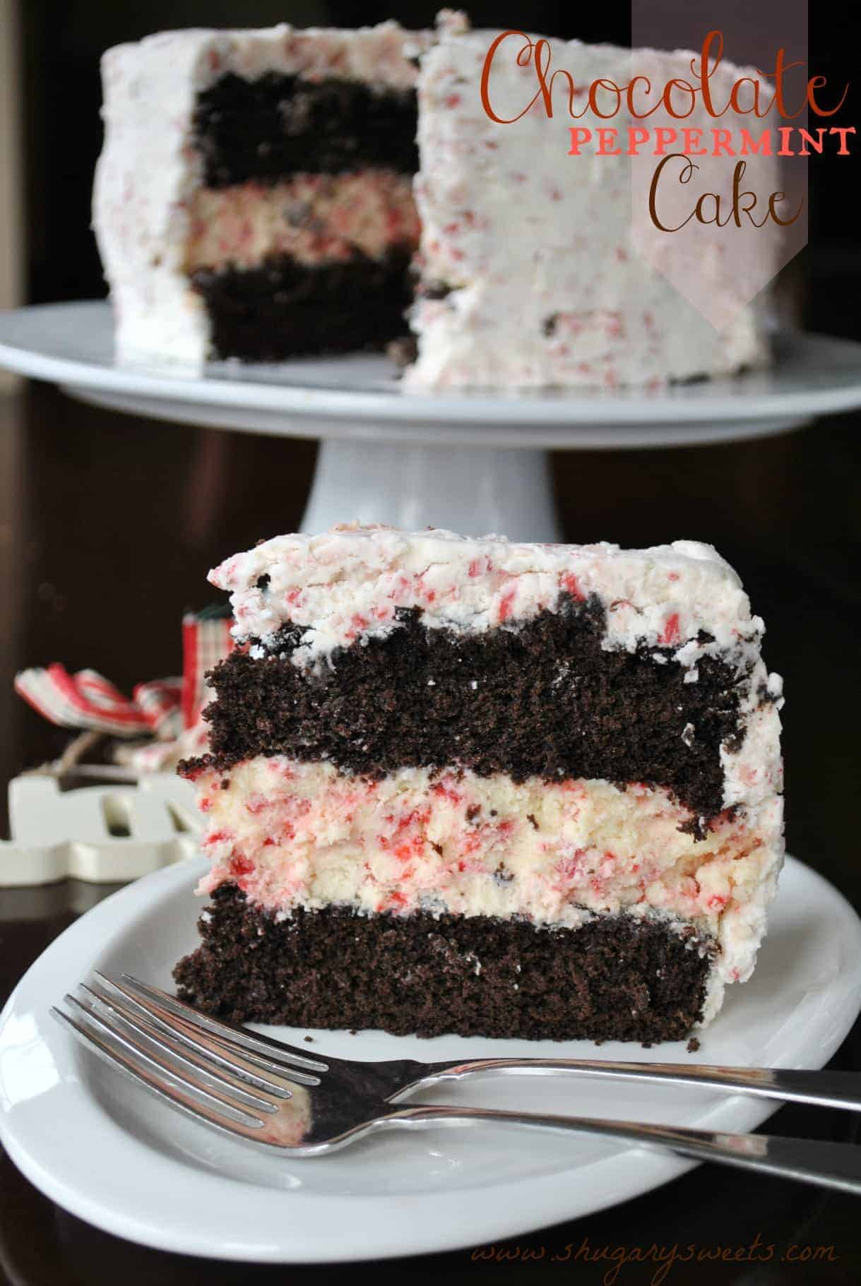 Chocolate Peppermint Cheesecake Cake - Shugary Sweets