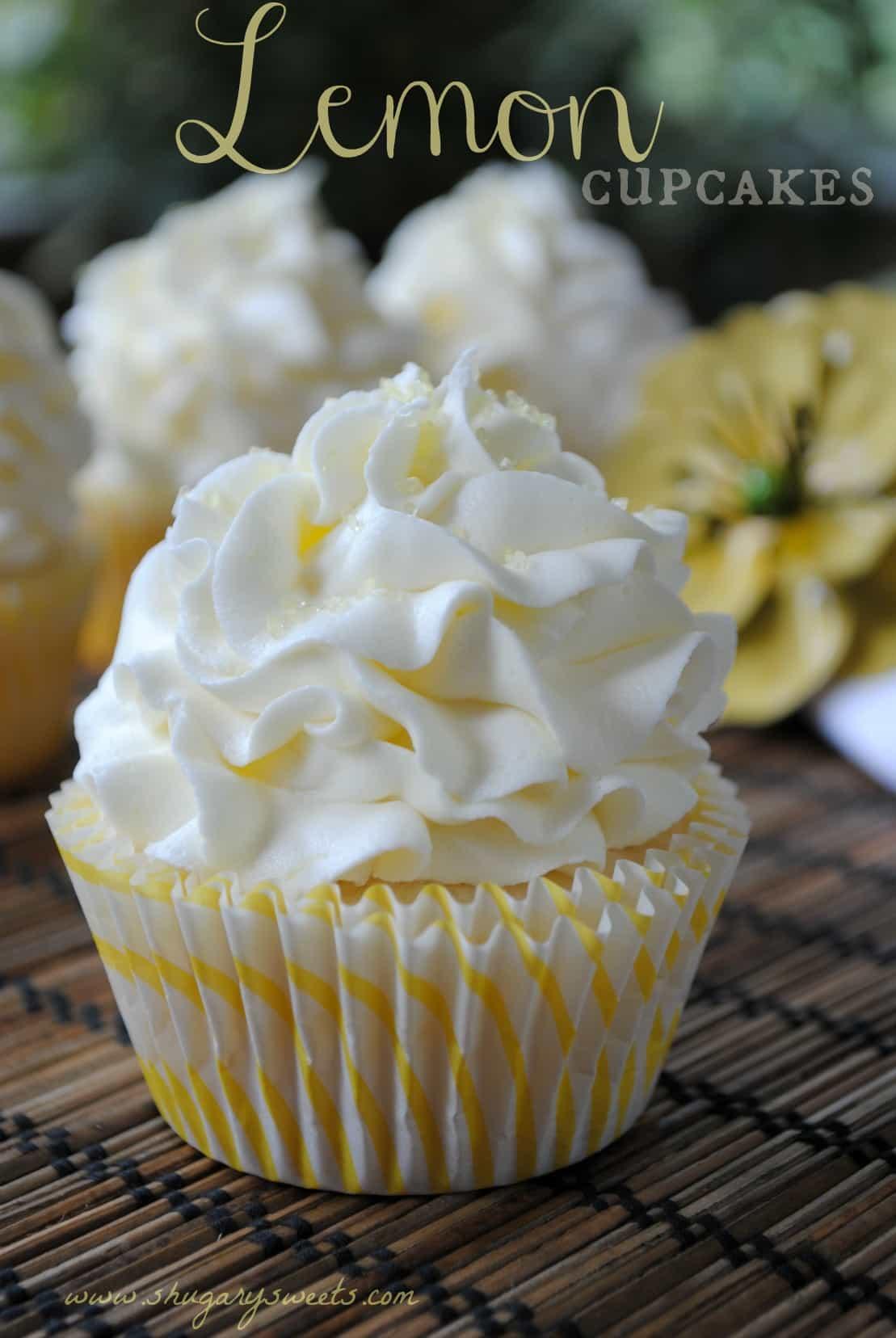 Lemon Cupcakes with Lemon Buttercream from www.shugarysweets.com # ...