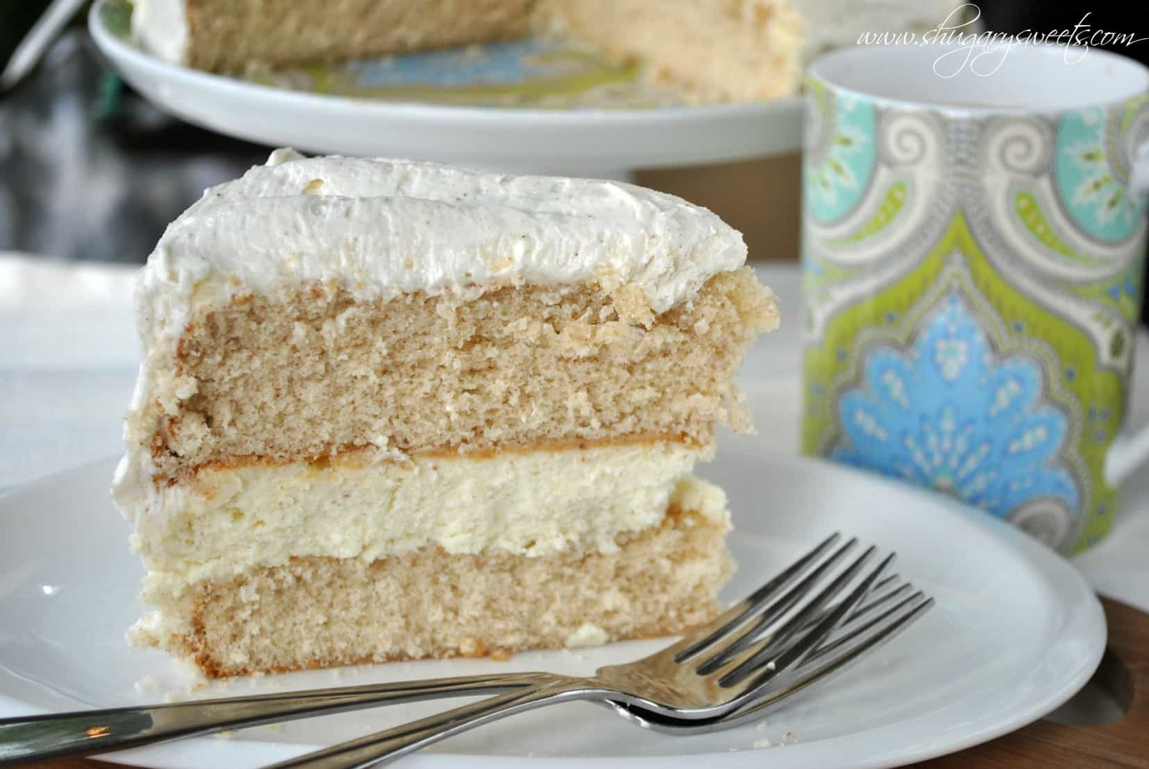 Eggnog Cheesecake Cake Two Layers Of Spice Cake From Scratch With A