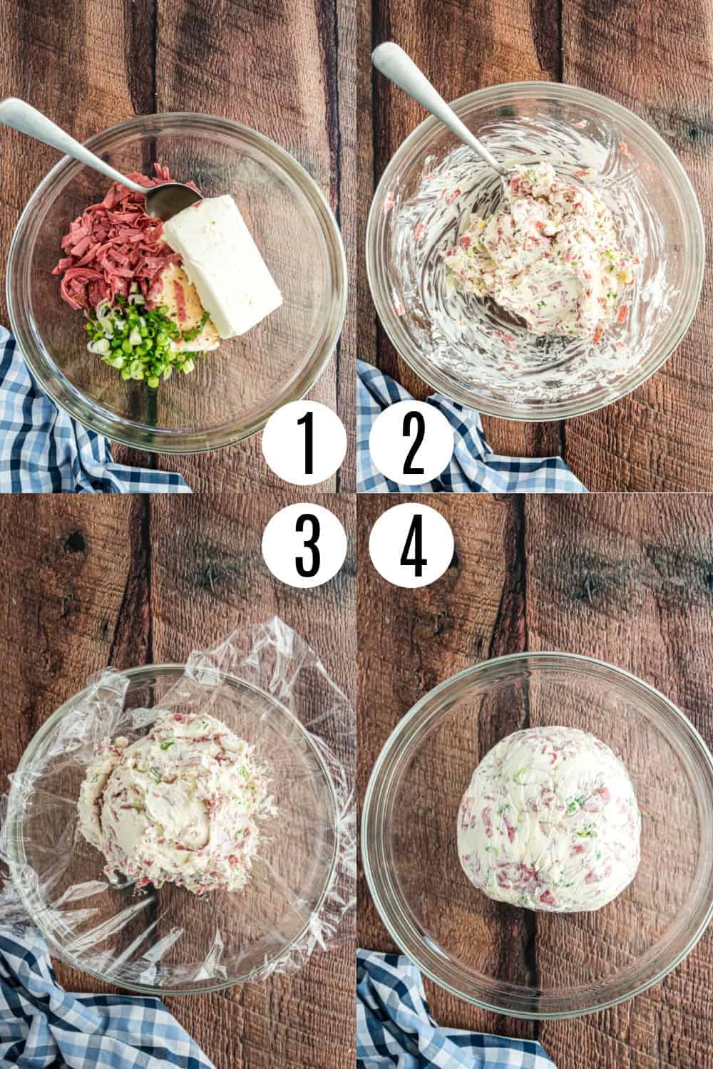 Step by step photos showing how to make a cheese ball.