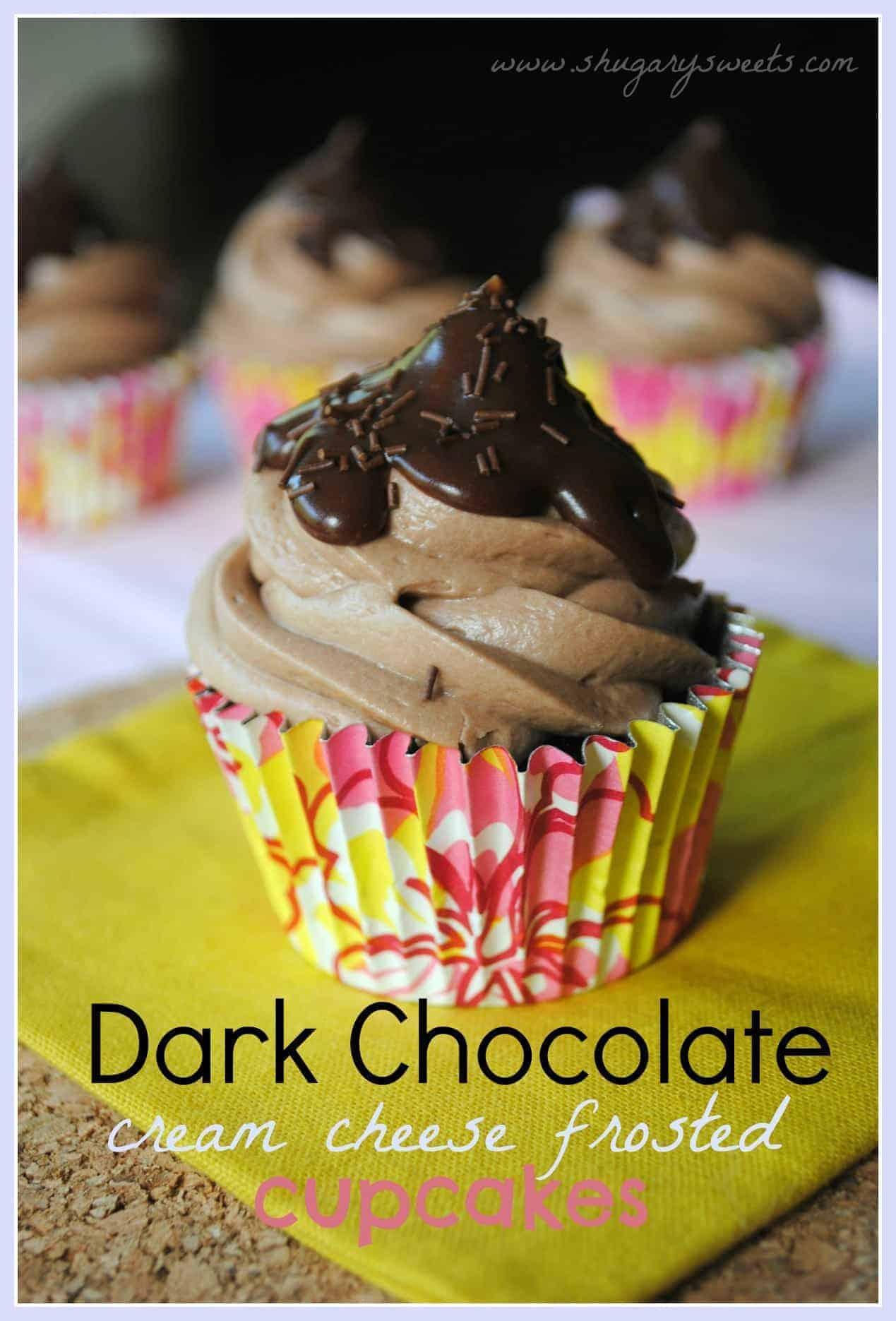 Dark Chocolate Cupcake with Chocolate Cream Cheese Frosting from www ...