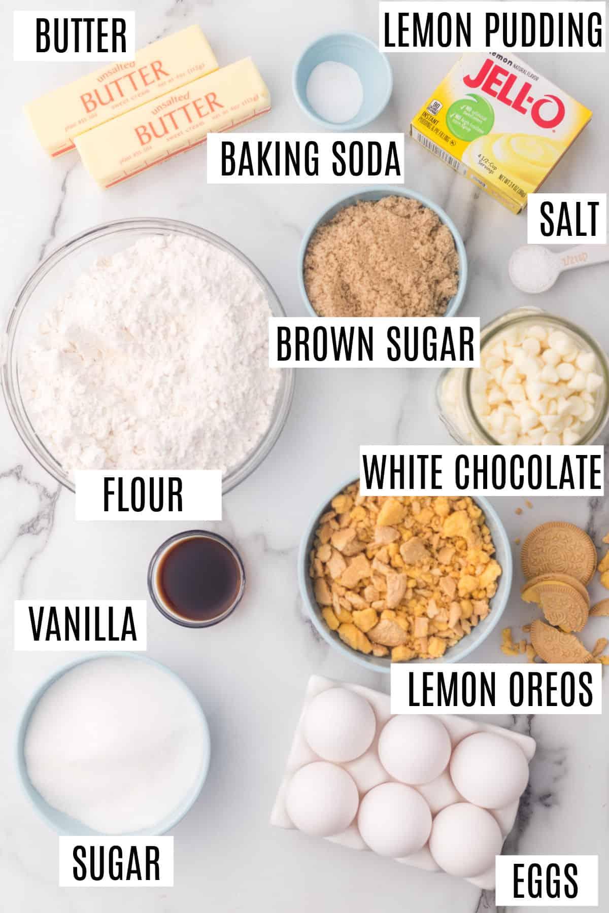 Ingredients needed for lemon oreo cookies.